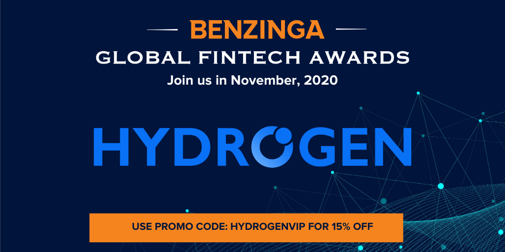 Hydrogen Nominated for Benzinga Fintech Award – Best API